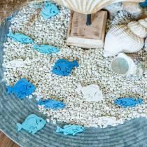 Decoración de dispersión madera de pescado blanco, azul, azul claro 4cm 72p