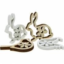 Espolvorea decoración de conejos, gallinas y pájaros Decoración de Pascua de madera para espolvorear 72 piezas
