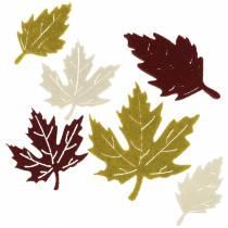 Hojas de otoño dispersas fieltro burdeos / crema / verde 72pcs