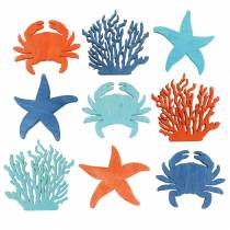 Decoración marítima para esparcir Madera Azul claro, Azul, Naranja Surtido 4cm 72p