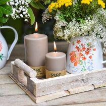 Vela de pilar puro marrón 90/60 vela de cera natural vela de colza estearina sostenible decoración