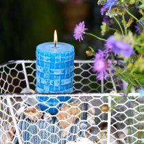 Velas de pilar rústico, velas de patrón de canasta, velas de cera turquesa 110/65 2 piezas