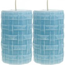 Velas de cera patrón de canasta, velas de pilar, velas rústico azul claro 110/65 2 piezas