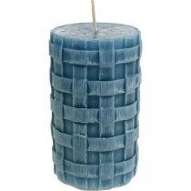 Velas de columna azul, velas de cera rústicas, velas con patrón trenzado 110/65 2 piezas