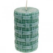 Velas con patrón trenzado, velas de pilar Verde rústico, decoración de velas 110/65 2 piezas