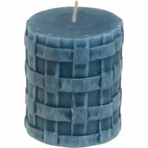 Velas de columna rústica azul 80/65 velas rústicas 2pcs