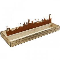 Bandeja decorativa Prado de Pascua, decoración primaveral, bandeja de madera con óxido de acero inoxidable 35 × 15cm