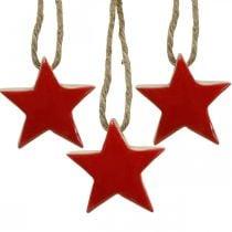 Estrella de madera decoraciones para árboles de Navidad rojo, estrellas decorativas naturales 5cm 24pcs