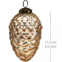 Colgante de piña, adornos para árboles de Navidad, decoración otoñal, cristal auténtico, aspecto antiguo Ø7cm H11.5cm 6ud