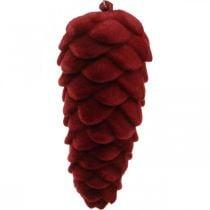 Percha para decoración de conos de otoño, adornos de adviento, piñas de pino flocadas en rojo H13cm Ø6cm 6S