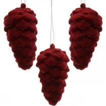 Conos decorativos flocados, decoración otoñal, piñas rojas, Adviento Al8.5cm Ø4.5cm 8ud