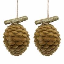 Conos decorativos para colgar Marrón, Oro 9×7cm/8,5×6cm 4piezas
