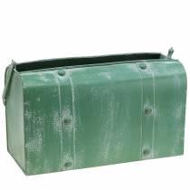Macetero con asa de metal verde, blanco lavado Al20cm