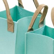 Jardinera decorativa fieltro cesta de fieltro verde menta con asas decoración de fieltro juego de 2
