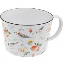 Taza para plantas pájaros / flores, jardinera, taza decorativa de esmalte, jardinera Ø10cm H7cm