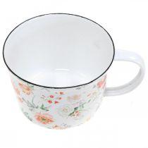 Taza de planta esmaltada, taza decorativa con decoración de rosas, jardinera Ø10cm H7cm
