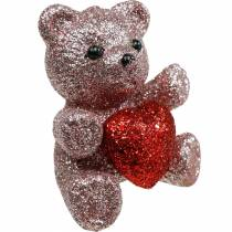 Enchufe decorativo oso con corazón, San Valentín, tapón flor purpurina 9ud