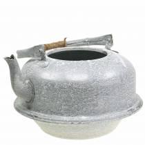 Jardinera tetera zinc gris, blanco lavado Ø26cm H15cm