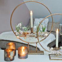 Candelita, portavelas, farol de vidrio aspecto antiguo Ø10cm H10.5cm 2pcs