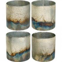 Vela de cristal, farol decorativo, decoración de mesa aspecto antiguo Ø9,5cm H10cm 4ud