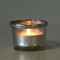 Rombo de cristal candelita con borde de metal Ø8cm H5,5cm 4pcs