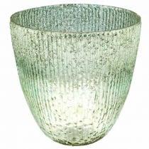 Vela farol de cristal azul verde decoración de mesa cristal Ø21cm H21.5cm