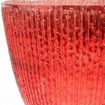 Vela linterna de cristal florero decorativo de cristal rojo Ø21cm H21.5cm