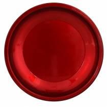 Plato decorativo de metal rojo con efecto esmaltado Ø23cm