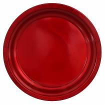 Plato decorativo de metal rojo con efecto glaseado Ø38cm