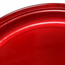 Plato decorativo de metal rojo con efecto glaseado Ø50cm