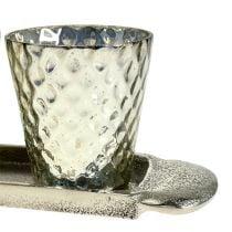 Plato de sobremesa con 3 vasos candelita de plata Ø7cm H8cm