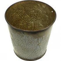 Jardinera para otoño, maceta de metal con decoración de hojas, jardinera dorada Ø10cm H10cm