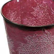 Maceta decorativa para plantar, cubo de metal, decoración de metal con patrón de hojas rojo vino Ø14cm H12.5cm