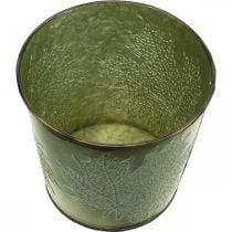 Jardinera con decoración de hojas, recipiente de metal para el otoño, cubo de plantas verde Ø10cm H10cm