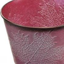 Macetero con decoración de hojas, decoración de otoño, jardinera de metal rojo vino Ø16.5cm H14.5cm