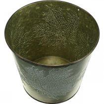 Cubo decorativo con decoración de hojas, maceta de otoño, decoración de metal verde Ø17cm H14.5cm