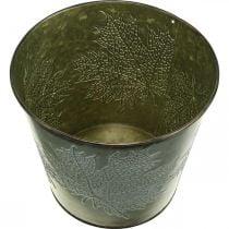 Macetero con decoración de otoño, decoración de metal, jardinera de otoño verde Ø18.5cm H17cm