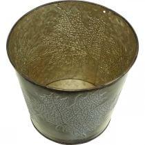 Jardinera para otoño, cubo de metal con decoración de hojas, recipiente de metal dorado Ø14cm H12.5cm