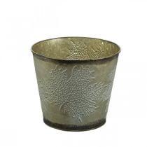 Cubo para plantas con decoración de hojas, recipiente de metal, dorado otoñal Ø18cm H17cm