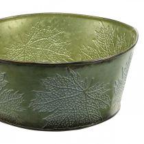 Macetero con hojas de arce, decoración otoñal, recipiente de metal verde Ø25cm H11cm