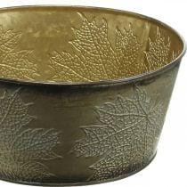 Cuenco de otoño, maceta de metal con decoración de hojas, macetero dorado Ø25cm H10cm