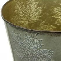 Macetero, decoración de otoño, recipiente de metal con hojas doradas Ø25.5cm H22cm