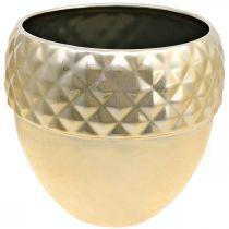 Jardinera de cerámica bellota dorada decoración navideña Ø18cm H16.5cm