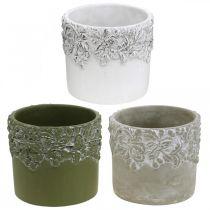 Recipiente de cerámica, maceta con decoración de roble, macetero verde / blanco / gris Ø13cm H11.5cm juego de 3