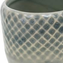 Macetero mini, farol de cerámica, macetero, decoración de cerámica con patrón de canasta Ø8,5cm 6ud