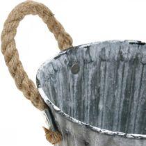 Macetero con asas, recipiente de metal, jardinera efecto antiguo Ø12cm