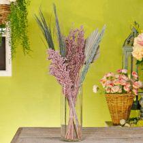 Conjunto de ramo de flores secas mezcla exótica blanco-rosa secado