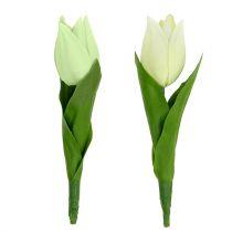 Decoración de primavera, tulipanes artificiales, flores de seda, tulipanes decorativos verde / crema 12pcs