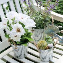 Macetero con estampado de flores, macetero de metal para plantar, macetero con asas Ø25,5cm