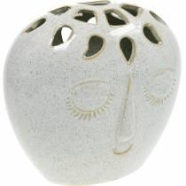Jarrón con crema facial, beige H18cm aspecto gres 1p